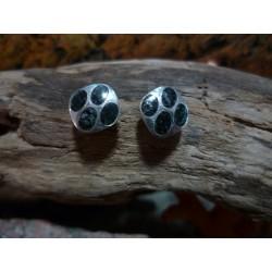 Boucles d'oreille argent massif et diorite noire