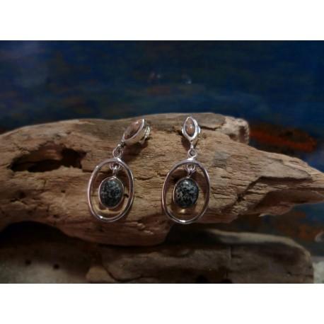 Boucles d'oreille argent massif et mélange de pierres de Corse