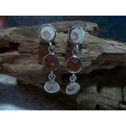 Boucles d'oreille argent massif Oeil de Sainte Lucie et Rouge de Porto