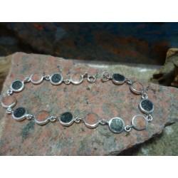 Bracelet argent Diorite Noire et Rouge de Porto