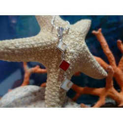 Sterling silver pendant with red coral and the Eye of Saint Lucia