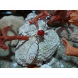Piercing corail rouge et argent massif