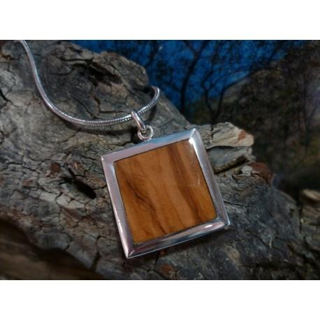 Pendentif argent massif et bois d'olivier