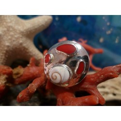 Sterling silver ring with red coral and the Eye of Saint Lucia