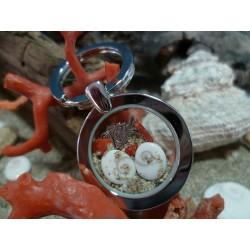 Porte-clé acier oeil de Sainte Lucie et corail rouge