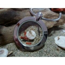 Stainless steel pendant eye of Saint Lucia and red coral