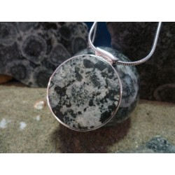 Sterling silver pendant with orbicular diorite