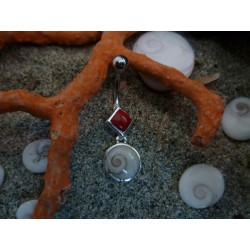 Navel piercing with red coral and the Eye of Saint Lucia, and 925 Sterling Silver