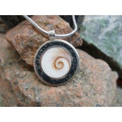 Sterling silver pendant with Black Diorite and the Eye of Saint Lucia