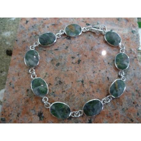 Bracelet argent massif et vert d'Orezza