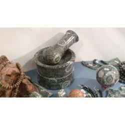 Mortar in orbicular diorite