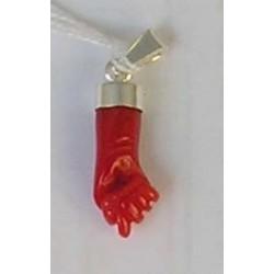 Pendentif main en corail rouge et argent massif