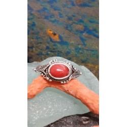 Bague argent massif et corail rouge