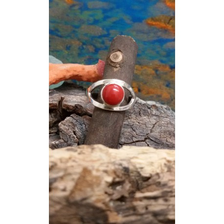 Sterling silver ring with the true Mediterranean red coral