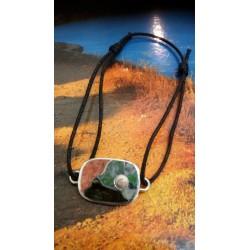 Bracelet argent massif oeil de Sainte Lucie et mélange de pierres de Corse