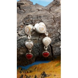 Sterling silver earrings with red coral and the Eye of Saint Lucia