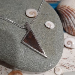 Sterling silver pendant with olive tree wood