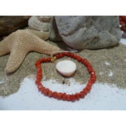 Bracelet or 18 carats et corail rouge de Méditerranée