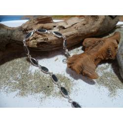 Bracelet argent massif et diorite noire